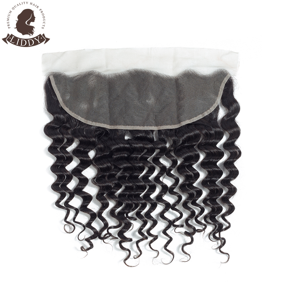 Liddy Lace Frontal Closure Brazilian Deep Wave 100% Human Hair 8-20 Inch Free Part 13x4 Swiss Lace Non-remy Natural Color