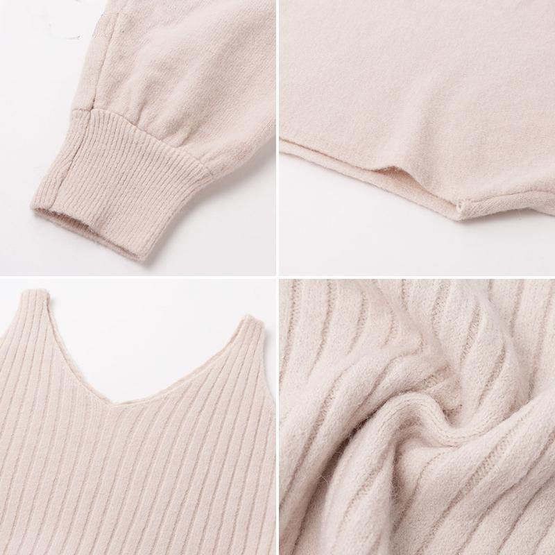 2021 Autumn Knitted Sweater O Neck Bateing Sleeve Two Pieces Women Warm Sweater And Pullover With Dress Femme Tricot Pull Femme 6