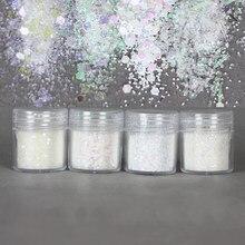 4 ollas blanco conjunto de Aurora hexagonal brillo lentejuelas mezcla brillante adorno para Diy resina manualidades hacer herramientas de joyería de resina UV llena