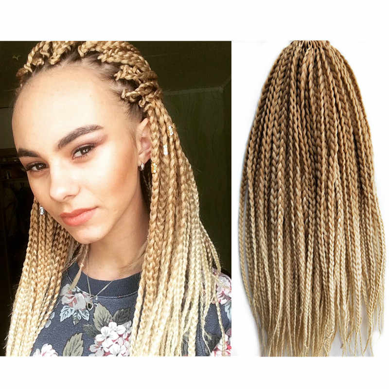 Pervado Hair 18Inch 22strands/pack African 3s Box Hair Braids 27/613 Ombre Color Synthetic Crochet Hair Extensions for Women