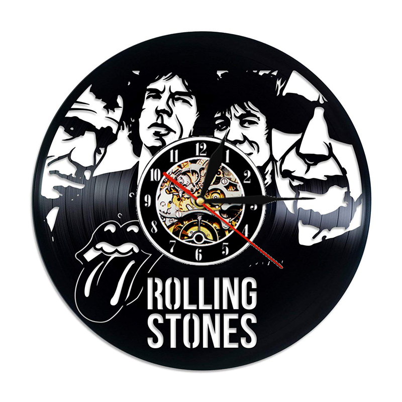Vinyl Record Wall Clock Modern Design Music Theme The Rolling Stone Band Hanging Clocks Vintage Wall Watch Home Decor Silent