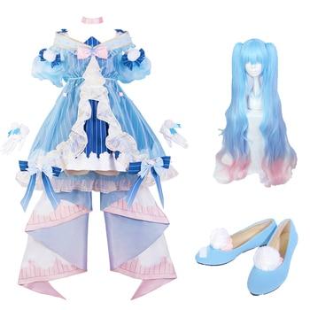 Hatsune miku cosplay costume winter miku lolita dress carnival halloween costume female anime high quality costume wig high quality carnival circus creepy giggles halloween clown head mask