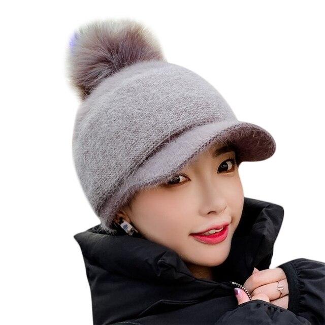 Women Winter Thick Warm Fuzzy Knit Beanie Cap with Visor Pompom Baseball Cap X7YA 1