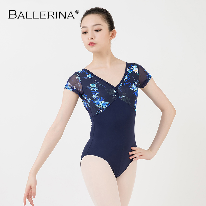 Women Ballet Short Sleeve Printing Leotard Adulto Dance Costume Short Sleeve Ballet Practice Leotard Ballerina 3532