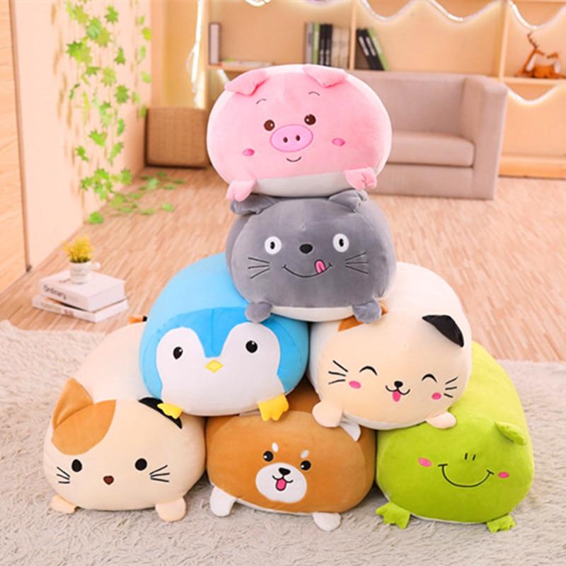 New Soft Animal Cartoon Pillow Cushion Cute Fat Dog Cat Totoro Penguin Pig Frog Plush Toy Stuffed Lovely Kids Birthyday Gift