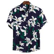 MoneRffi 2020 letnie męskie koszule świąteczne koszule hawajskie koszule plażowe męskie casualowe w stylu streetwear drukuj koszulka z krótkim rękawem tanie tanio CYSINCOS Poliester Skręcić w dół kołnierz Pojedyncze piersi REGULAR men shirt Suknem Na co dzień camisas hombre hawaiian shirt