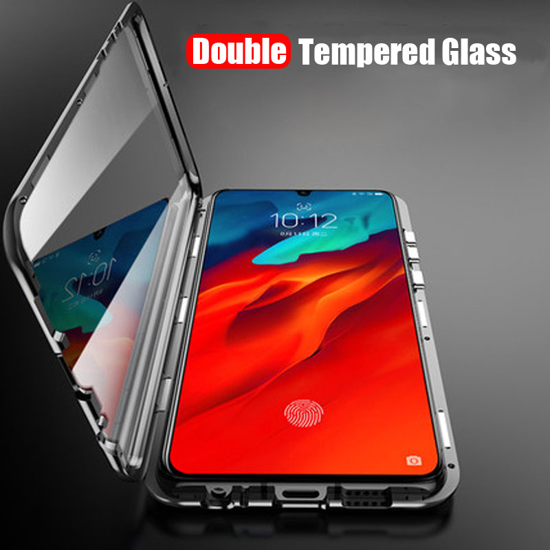 Magnetic Adsorption Case For Lenovo Z6 Pro Shockproof 360 Metal Frame Double Sided Tempered Glass Cover For Lenovo Z6 Pro Cases