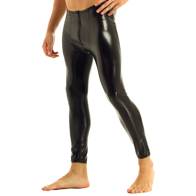 Mens Black Glossy Patent Leather Front Zipper Bulge Pouch Legging Pants Sexy Low Rise Elastic Waistband Slim Fit Long Trousers 3