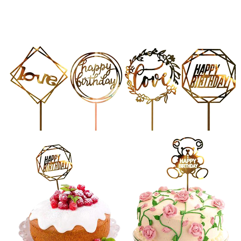1pcs Black Gold Pink Happy Birthday Acrylic Letter Cake Topper For Birthday Party Cake Decorations Supplies