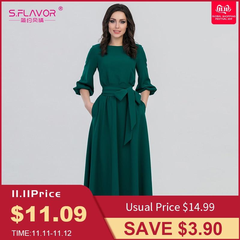 S.FLAVOR Autumn Winter woman O-Neck long dress bohemian style slim vestidos vintage three quarter lantern sleeve casual dress 22
