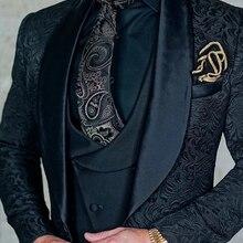 SZMANLIZI мужские свадебные костюмы итальянский дизайн на заказ черный смокинг пиджак 3 шт TERNO для жениха костюмы для мужчин