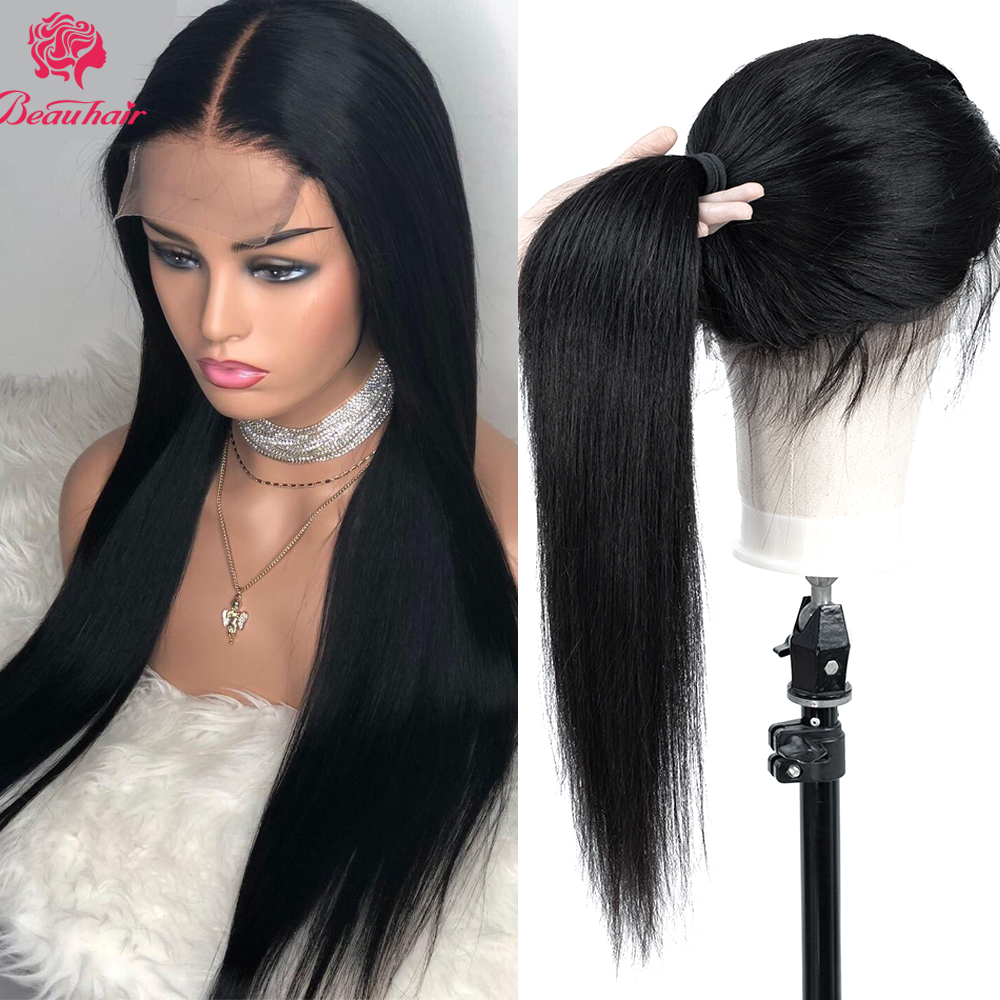 4*4 Lace Closure Wig Brazilian Human Hair Wigs For Women Pre Plucked With Baby Hair Natural Hairline 100%Human Hair Wig BeauHair