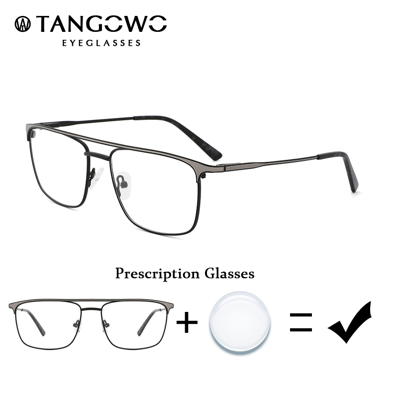 TANGOWO Male Glasses Frame Male Retro Prescription Eyeglasses Men Non Spherical Degree Glass Men Vintage Stylish Glasses Eyewear image