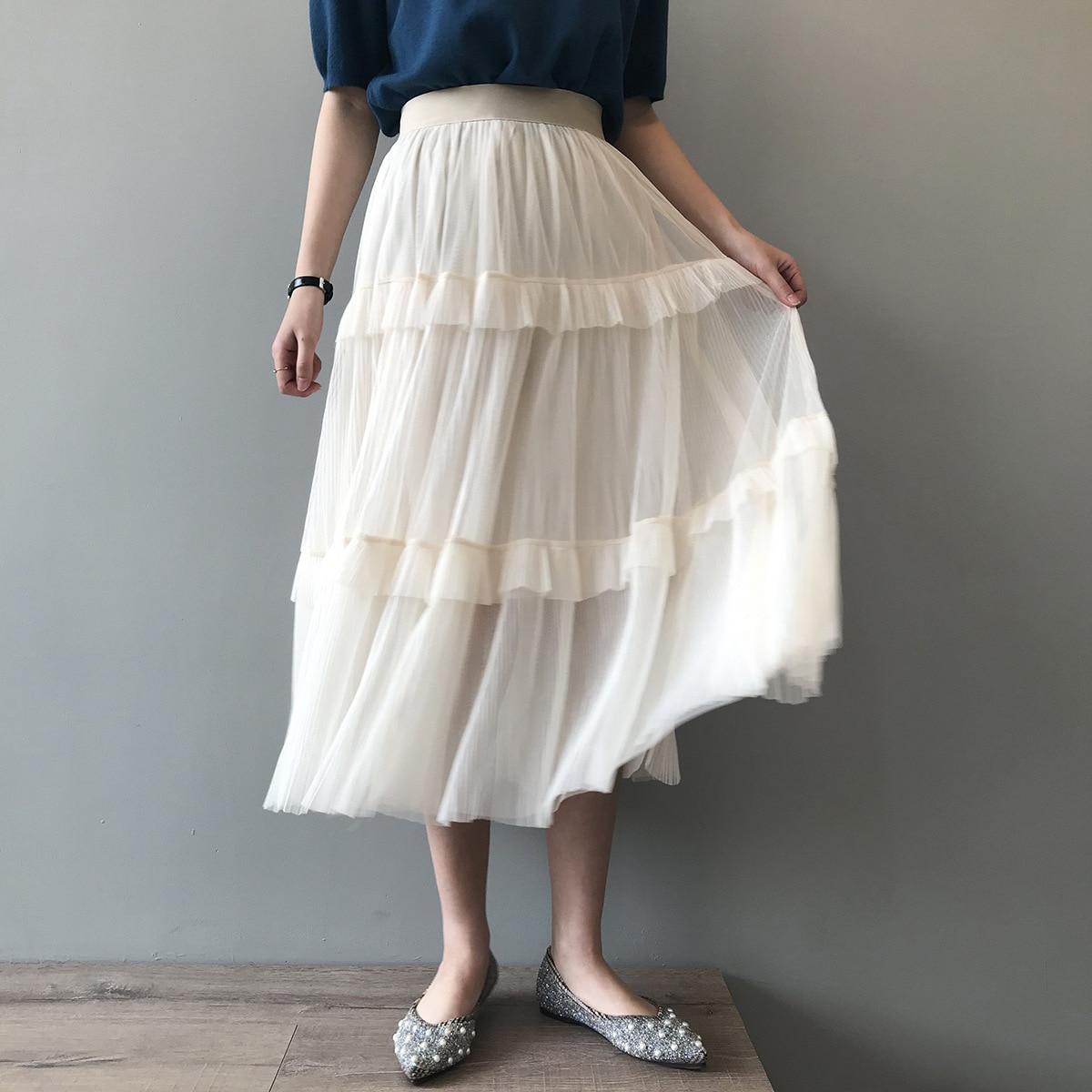 Sherhure 2020 Women Summer High Waist Skirts Vintage Women Ruffles White Mesh Long Skirt Faldas Jupe Femme Saia