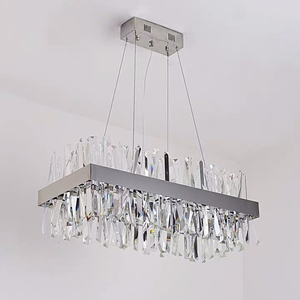 Image 4 - Luxury rectangle crystal chandelier lighting for dining room kitchen island lamps hanging modern chrome led chandeliers