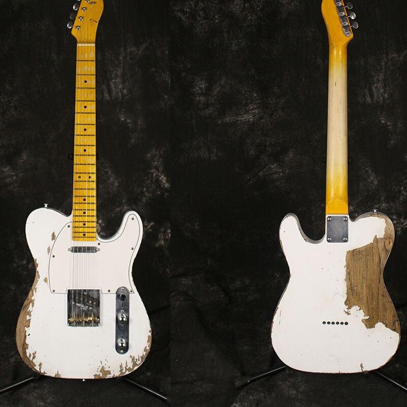 Guitare électrique de relique culturelle faite main de haute qualité, frêne cendré, peinture négative blanche, manche en érable, sculpté à la main, guitare, po