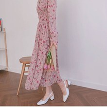 Summer Fall Women Korean Sweet Button V Neck A-Line Dress Long Sleeve Chiffon Print Dress Empire Elastic Waist Long Dress все цены