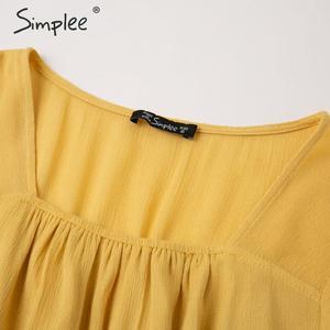 Image 5 - Simplee נשים פרע boho שמלה מקרית גבוהה מותן פנס כותנה המפלגה שמלת אונליין מוצק רך ליידי אלסטי אביב קיץ שמלה