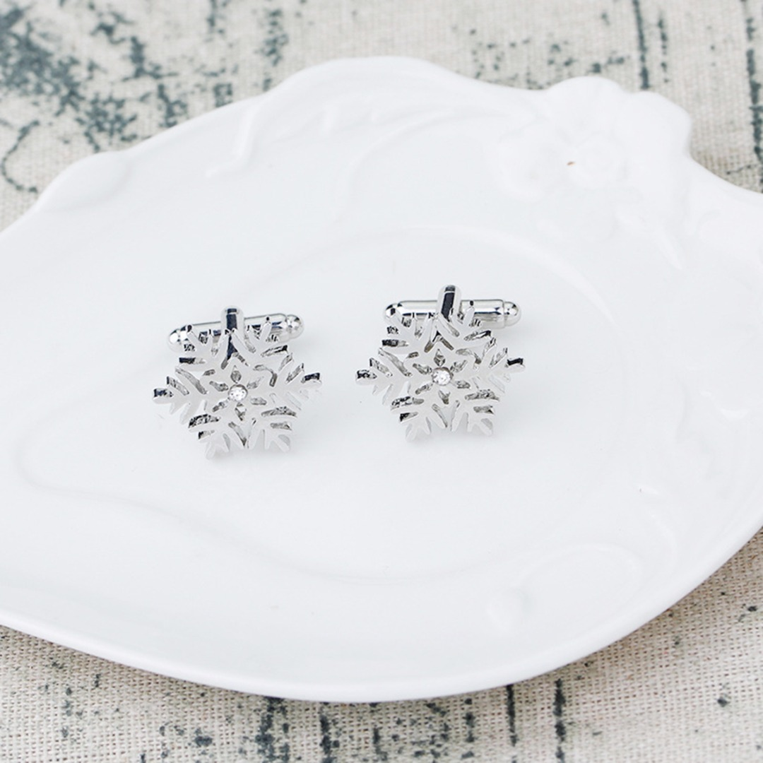 Christmas Snowflake Cufflink Silver Crystal Snow Snowflake Tie Clip Cufflinks For Mens Shirt Tie Clip Pin Winter Christmas Gift