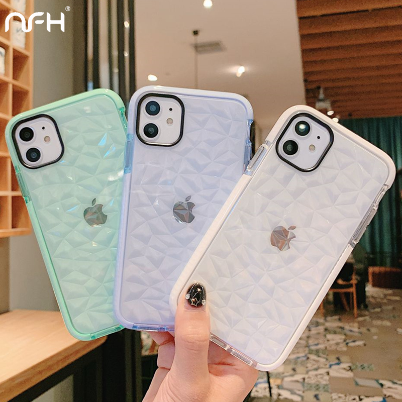 on For iPhone 5 5S SE XR Xs Max 3D Diamond Pattern Clean Case For iPhone 11 Pro Max 6 6S 7 8 Plus Soft Silicone Protection Shell