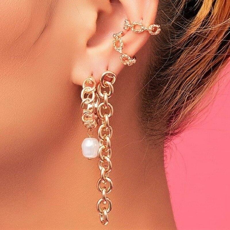 Vintage Women's Earrings Chain Dangle Ear Cuffs Baroque Pearl Gold Color Chain Clip On Earrings Retro Jewelry 2020 Kolczyki 4Pcs