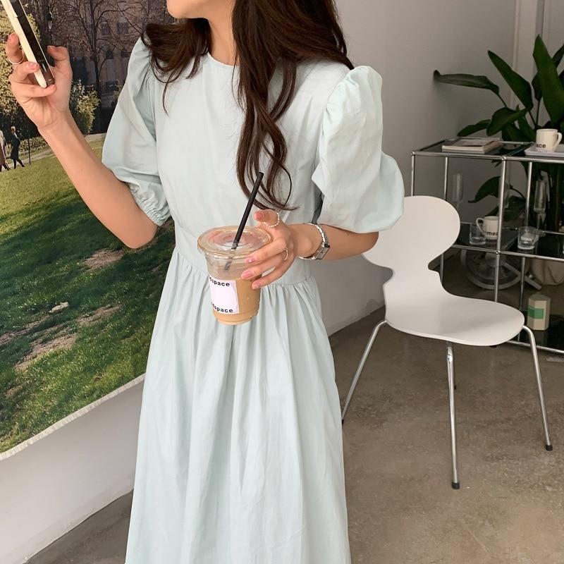 Hcef7f98b37e94e7c98a20b79d79d8b46r - Summer O-Neck Short Sleeves Elastic-Waist Calf Length Solid Dress