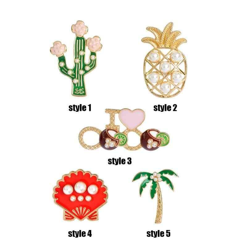 クリエイティブ真珠ブローチバッジシェルパイナップルサボテンピンジャケット女性ベストギフト卸売ピンとブローチ
