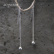 Simple S925 Sterling Silver Long Ear Line Earrings Ethnic Style Solid Silver Round Ball Drop Earrings Real Silver Jewelry TSE505 reticulated round silver earrings simple style earrings