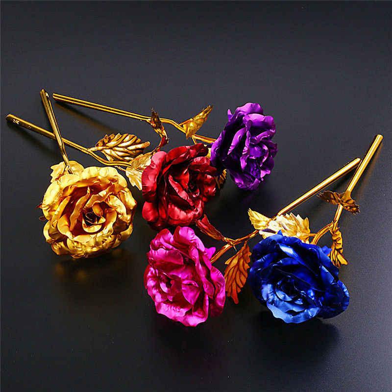 Baru 24K Berlapis Emas Keemasan Rose Bunga Valentine 'S Hari Ulang Tahun Pernikahan Hadiah