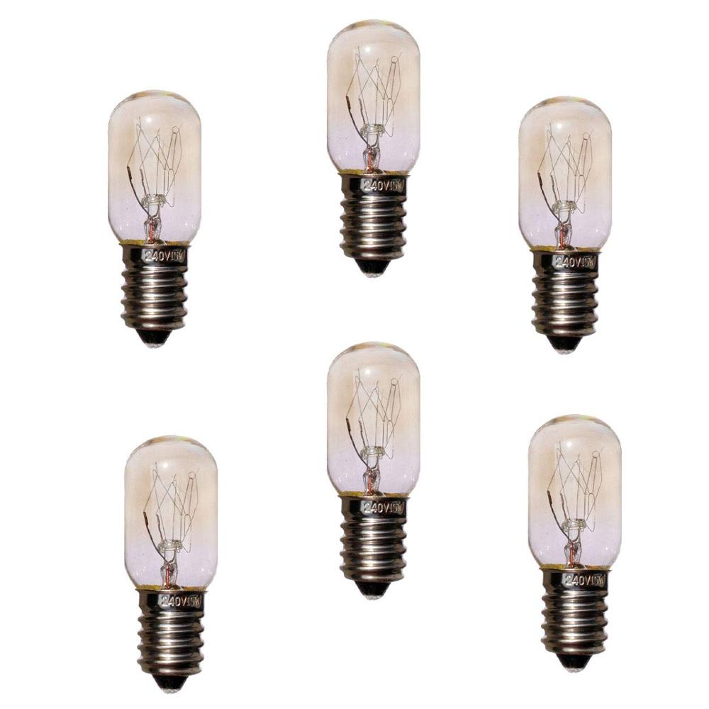 6PCS 220V 15W E14 Refrigerator Light Bulbs Cooker Tungsten Filament Lamp Bulbs Salt Lights