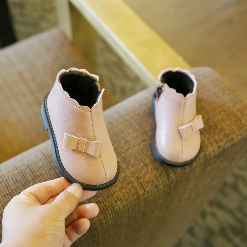2019 Winter Baby Cotton Shoes Winter Genuine Leather Girls Snow Boots Bow Baby Toddler Shoes  Toddler Moccasins First Walkers