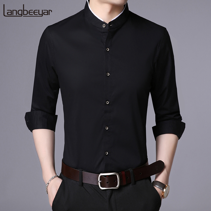 2019 Fashion Brand Shirt Men Mandarin Collar Long Sleeve Regular Fit Cotton Autumn Black Korean Dress Shirt Casual Men Clothes