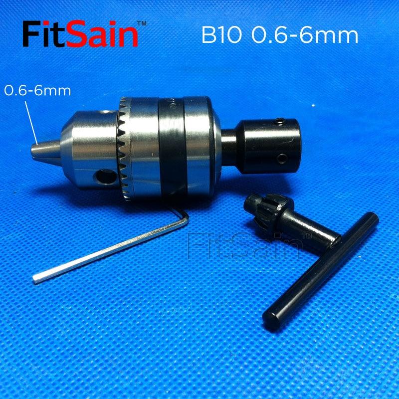 FitSain--B10 0.6-6mm mini drill chuck for motor shaft 4/5/6/6.35/8mm Connect Rod Power Tools Accessories drill press