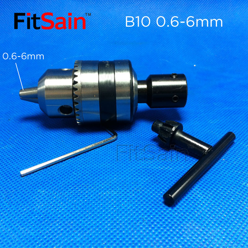 FitSain - B10 0,6-6 mm mini boorkop voor motoras 4/5/6/6,35 / 8 mm drijfstang elektrisch gereedschap Accessoires boorpers