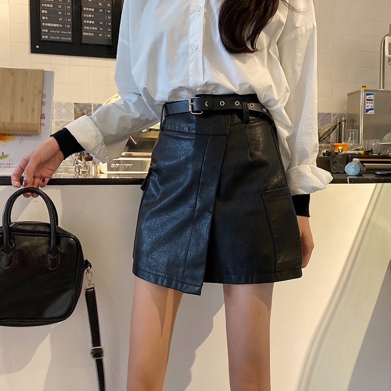 Photo Shoot High-waisted Small Leather Skirt PU Leather Sheath Skirt Delivery Leather Belt