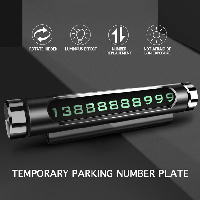 Luminous Car Temporary Parking Card Rotatable Telephone Number Plate Magnetic Adsorption Design Car Styling Accessories 3 Colors