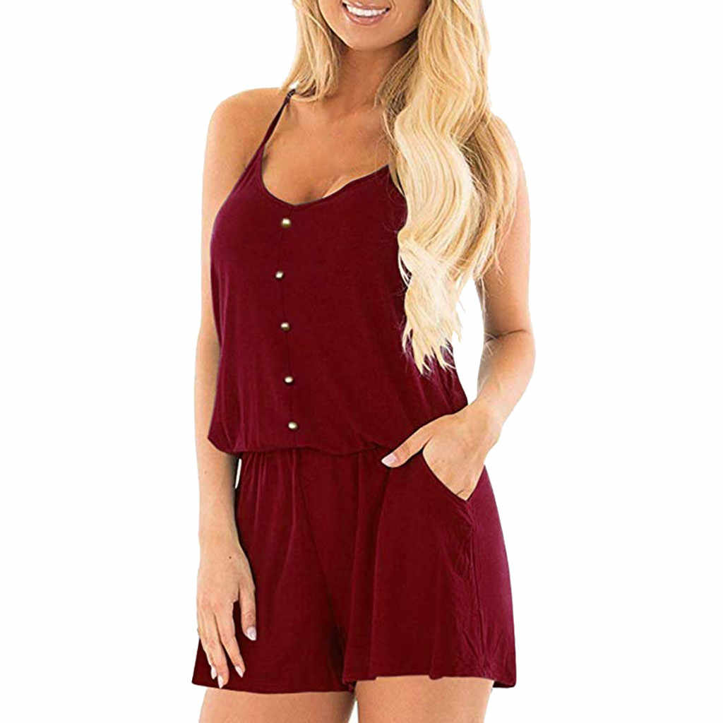 Womens Casual Sleeveless Loose Solid Jumpsuit Summer V Neck Short Rompers Backless Beach Jumpsuit Ropa Verano Mujer
