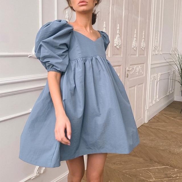 Women Square Neck Sexy Summer Mini Dress Short Sleeve Female High Waist Black Loose A Line Women Dress Puff Sleeve Blue Cotton