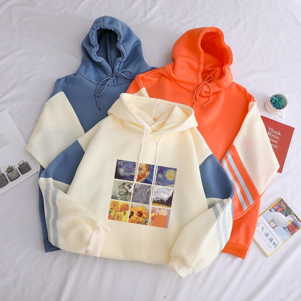 Пуловер большого размера с масляной росписью Ван Гога, плотные свободные женские толстовки с капюшоном, одежда из флиса, хит продаж, Harajuku, Же...