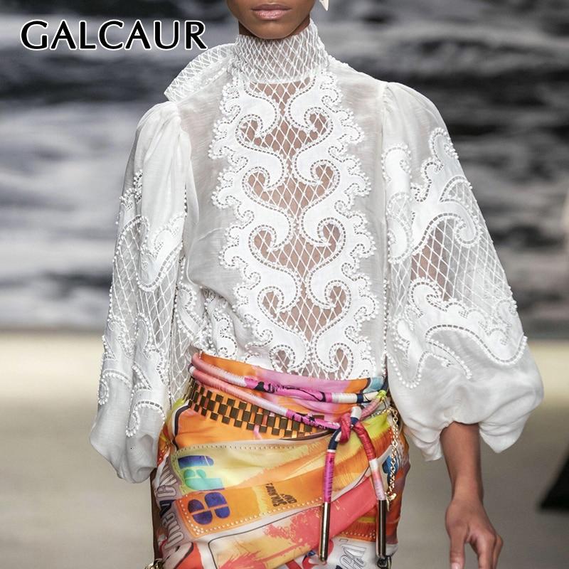 GALCAUR White Elegant Embroidered Women's Shirt Scarf Collar Lantern Sleeve Hollow Out Female Blouses Autumn 2019 Fashion New