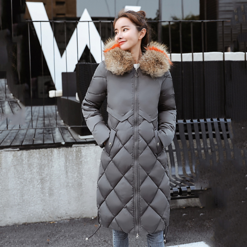 KMVEXO 2019 Winter With Big Fur Collar Warm Thicken Solid Jacket Women Long Down Cotton Parkas Female Hooded Outwear