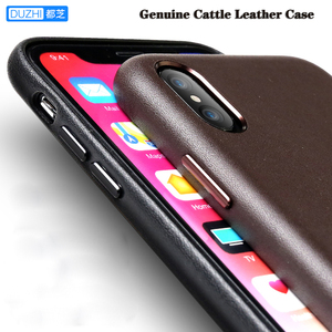 Image 1 - For iphone XS XS Max Cattle Leather Case 100% Original Duzhi Brand Full Protect Genuine Leather Case For iphone 7 7 Plus 8 8Plus