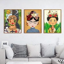 Cartoon Girl Print Nursery Canvas Painting Creative Wall Art Flowers Poster Nordic Wall Pictures Baby Girl Room Decor No Frame astronaut spaceship canvas poster nursery quotes wall art print cartoon painting nordic kids decoration pictures baby room decor