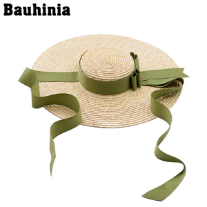 Bauhinia Summer Wide Big Brim Straw Hats Sun For Women UV Protection Panama Beach Ladies bow hat