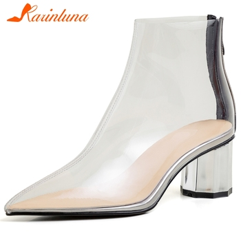 KARINLUNA 2020 Spring New Ladies High Chunky Heel Boots Pointed Toe Crystal Ankle Boots Women Brand Transparent Shoes Woman