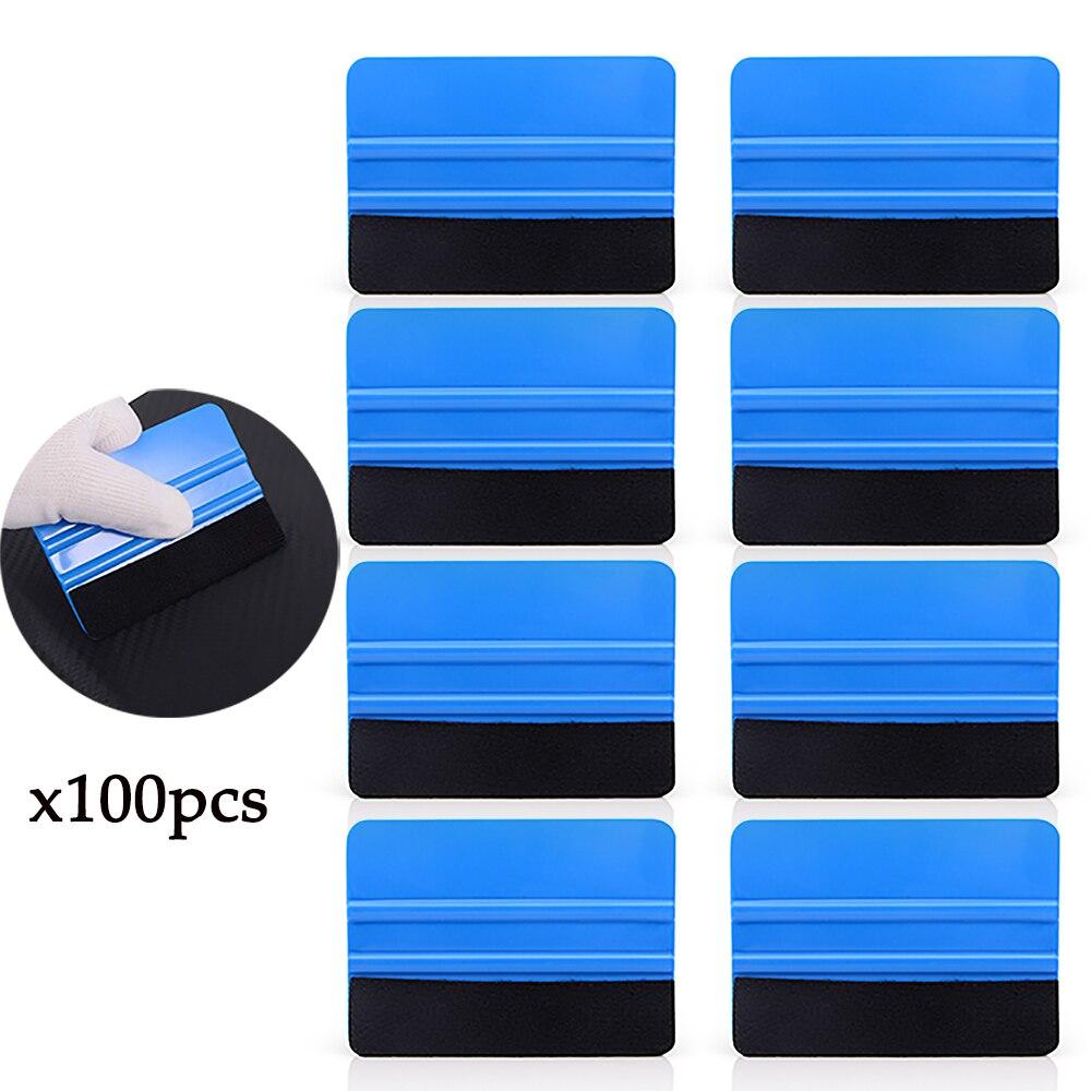 FOSHIO 100PCS 10x7.3cm Carbon Fiber Vinyl Wrap Film Felt Fabric Plastic Squeegee Scraper Car Window Tint Sticker Install Tools