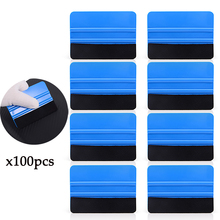 FOSHIO 100PCS 10x7.3cm Carbon Fiber Vinyl Wrap Film Felt Fabric Plastic Squeegee Scraper Car Window Tint Sticker Install Tools