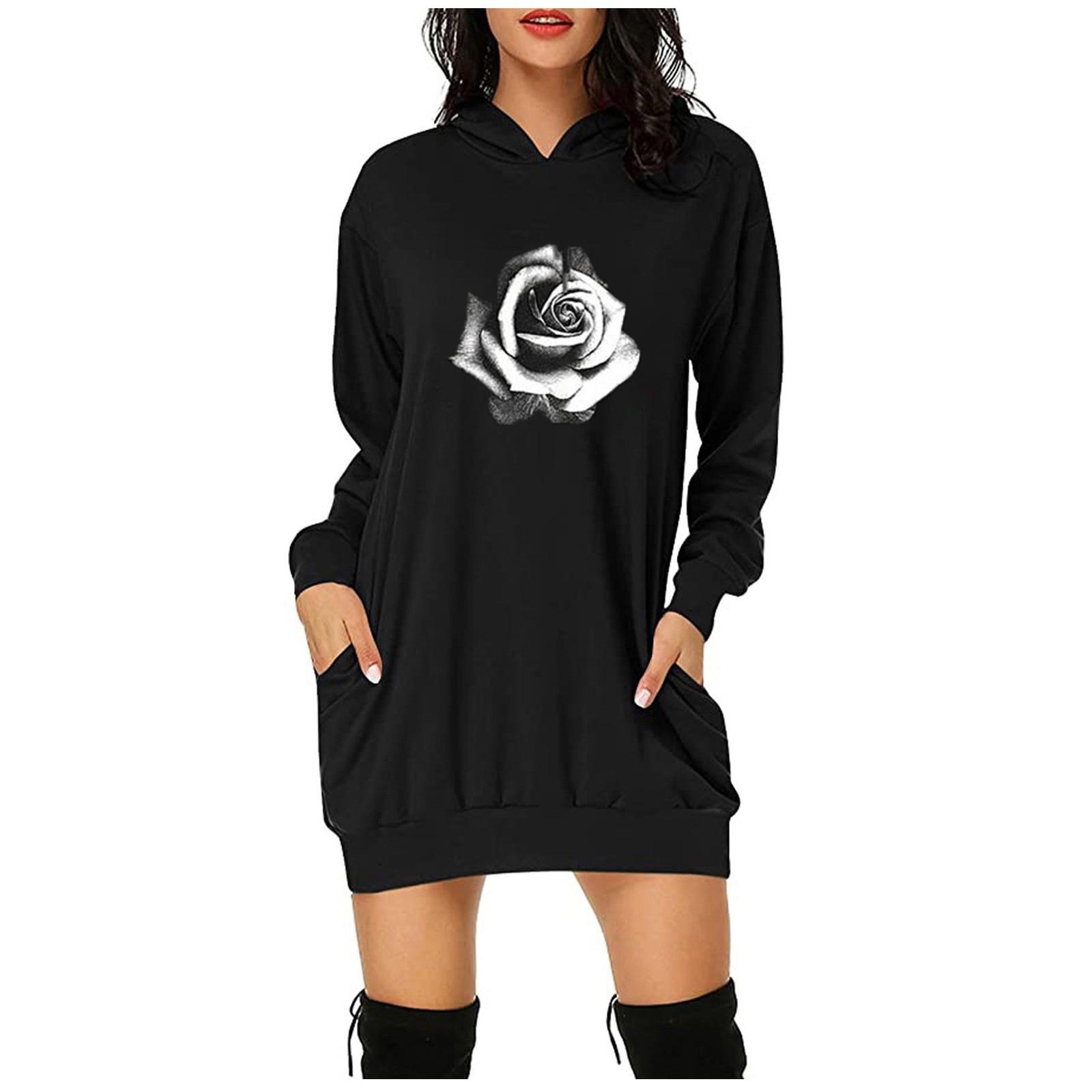 Женская толстовка и толстовка женская спортивная одежда, Женская Спортивная одежда с принтом розы, повседневные пуловеры с длинными рукава...