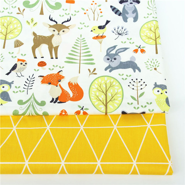 2PCS Dinosaur, Fox Cartoon Twill Printed 100% Cotton Fabric For Baby Sewing Quilting Fat Quarters Child DIY Patchwork Fabric 3