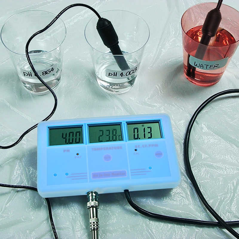 Presisi Tinggi PH Meter Multi Parameter Air Quality Monitor Ph/Temp/EC/CF/TDS tester Digital Water Meter dengan Mounting Bracket